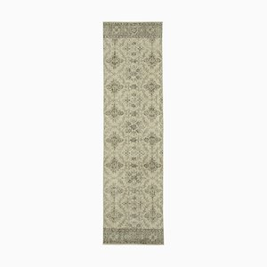 Beige Antique Handmade Wool Overdyed Runner Carpet