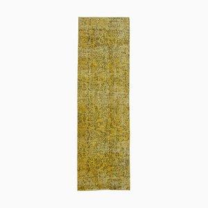 Yellow Anatolian Handwoven Antique Overdyed Runner Carpet