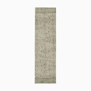 Beige Decorative Handwoven Antique Overdyed Runner Carpet