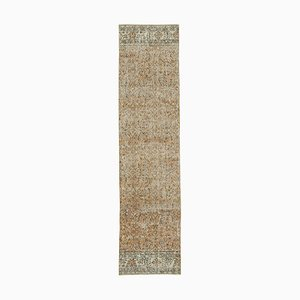 Beige Anatolian Handmade Wool Overdyed Runner Carpet