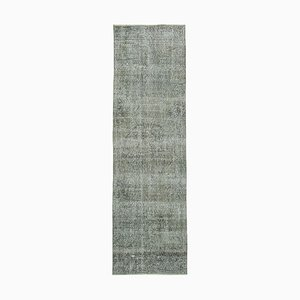 Grey Turkish Handwoven Antique Overdyed Runner Carpet