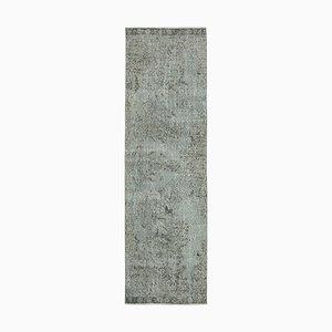 Grey Decorative Handmade Wool Overdyed Runner Carpet