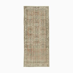 Beige Traditional Hand Knotted Wool Overdyed Runner Carpet