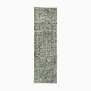 Grey Traditional Handwoven Antique Overdyed Runner Carpet