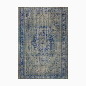 Grey Antique Hand Knotted Wool Large Overdyed Carpet