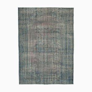Blue Turkish Handmade Wool Large Overdyed Carpet