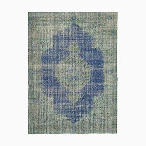 Blue Decorative Handwoven Antique Large Overdyed Carpet