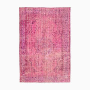 Pink Antique Handmade Wool Large Overdyed Carpet