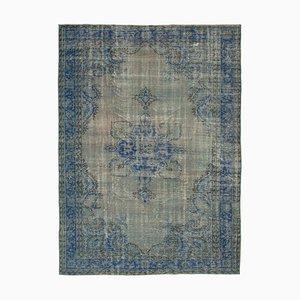 Blue Anatolian Handmade Wool Large Overdyed Carpet