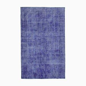 Blue Turkish Handwoven Antique Large Overdyed Carpet