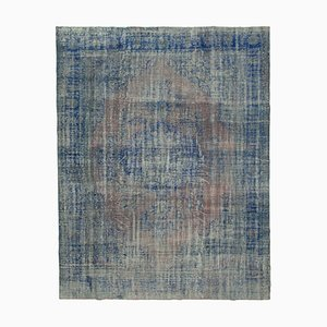 Blue Traditional Handwoven Antique Large Overdyed Carpet