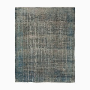 Blue Antique Hand Knotted Wool Large Overdyed Carpet