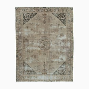 Beige Turkish Handwoven Antique Large Overdyed Carpet