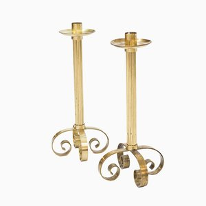 Large Scandinavian Brass Candlesticks for Ystad Metall, 1940s, Set of 2