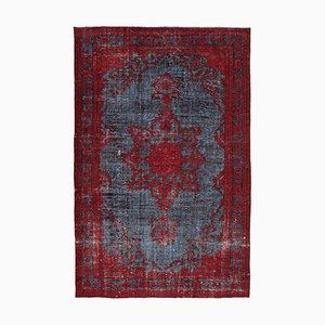 Vintage Red Hand Knotted Wool Overdyed Carpet