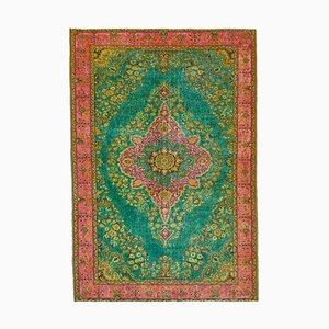 Green Vintage Hand Knotted Wool Over-dyed Carpet