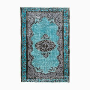 Turquoise Antique Handwoven Carved Overdyed Carpet
