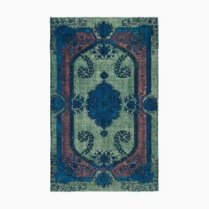 Green Decorative Handmade Wool Overdyed Carpet