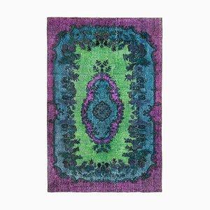 Purple Decorative Handmade Wool Overdyed Carpet