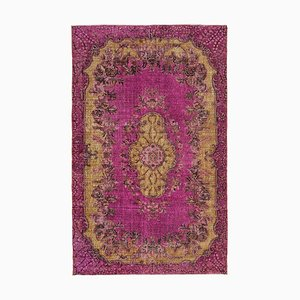 Fuchsia Vintage Hand Knotted Wool Over-dyed Carpet