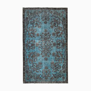 Blue Antique Handwoven Carved Overdyed Carpet