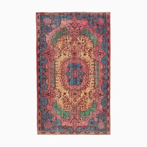 Pink Oriental Handwoven Carved Overdyed Carpet