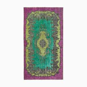 Grüner Überfärbter Handgeknüpfter Teppich aus Wolle