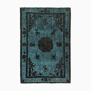 Green Antique Handwoven Carved Overdyed Carpet