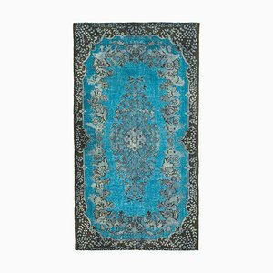 Blue Vintage Hand Knotted Wool Over-dyed Carpet