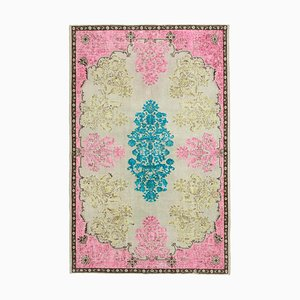 Pink Turkish Handmade Wool Overdyed Carpet
