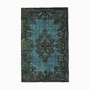 Vintage Brown Hand Knotted Wool Overdyed Carpet