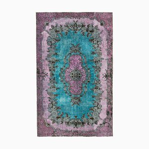 Pink Vintage Hand Knotted Wool Over-dyed Carpet