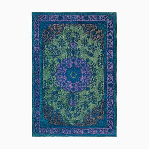Vintage Green Hand Knotted Wool Overdyed Carpet