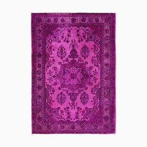 Fuchsia Antique Handwoven Carved Over dyed Carpet