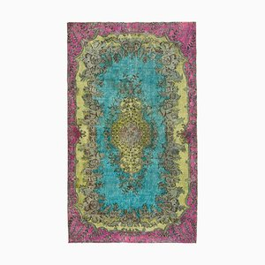 Turquoise Anatolian Hand Knotted Wool Overdyed Carpet