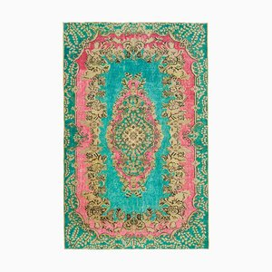 Turquoise Turkish Handmade Wool Overdyed Carpet