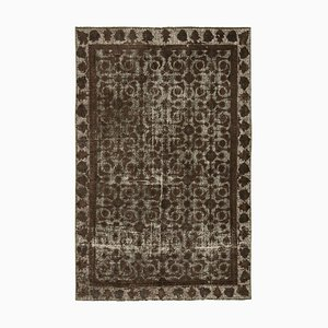 Brown Antique Handwoven Carved Over dyed Carpet