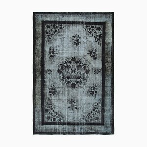 Black Anatolian Hand Knotted Wool Overdyed Carpet