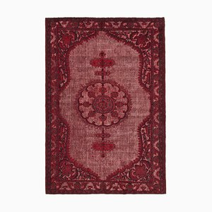 Red Vintage Hand Knotted Wool Over-dyed Carpet