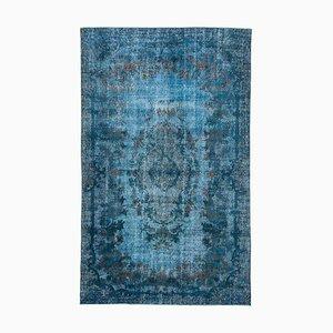 Blue Turkish Handmade Wool Overdyed Carpet