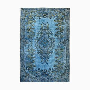 Vintage Blue Hand Knotted Wool Overdyed Carpet