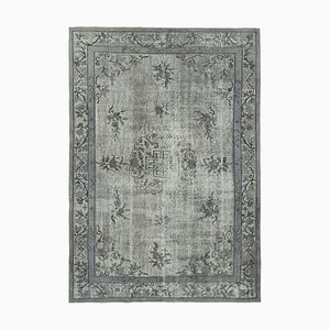 Grey Antique Handwoven Carved Overdyed Carpet