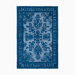 Blue Antique Handwoven Carved Over dyed Carpet