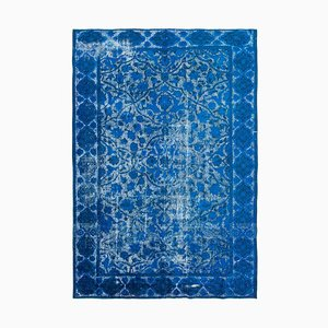 Blue Oriental Handwoven Carved Overdyed Carpet