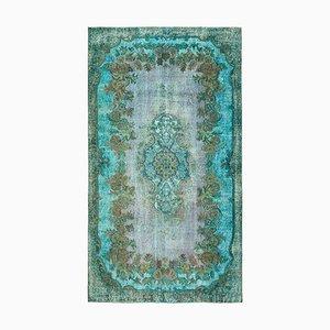 Turquoise Decorative Handmade Wool Overdyed Carpet