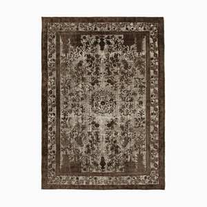 Brown Antique Handwoven Carved Overdyed Carpet