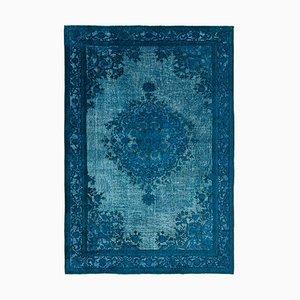 Türkiser Überfärbter Handgeknüpfter Teppich aus Wolle