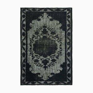 Black Overdyed Handmade Wool Large Carpet