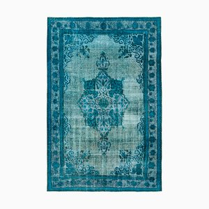 Turquoise Antique Handwoven Carved Over dyed Carpet