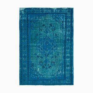 Turquoise Overdyed Handmade Wool Large Carpet